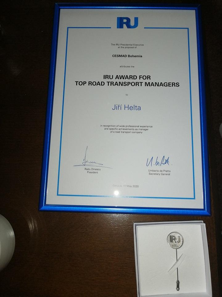 IRU award for Jiří Helta