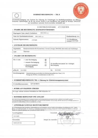 Certificate B for RM Lines a.s.
