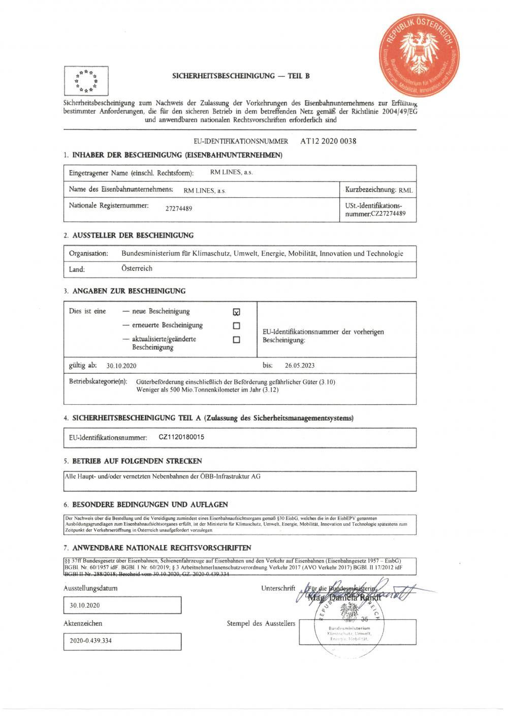 Certyfikat bezpieczeństwa B dla Austrii