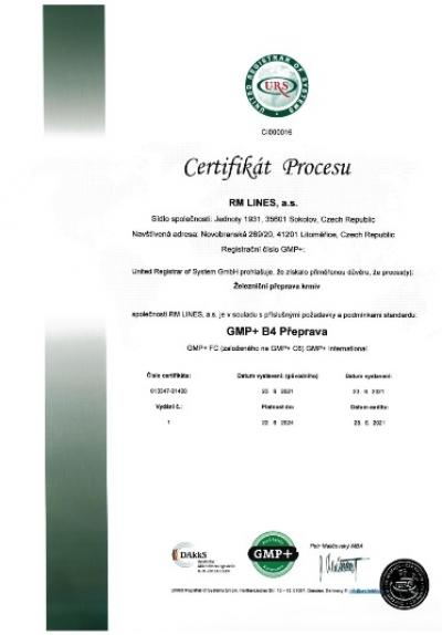 GMP+ certificate for RM LINES a.s.